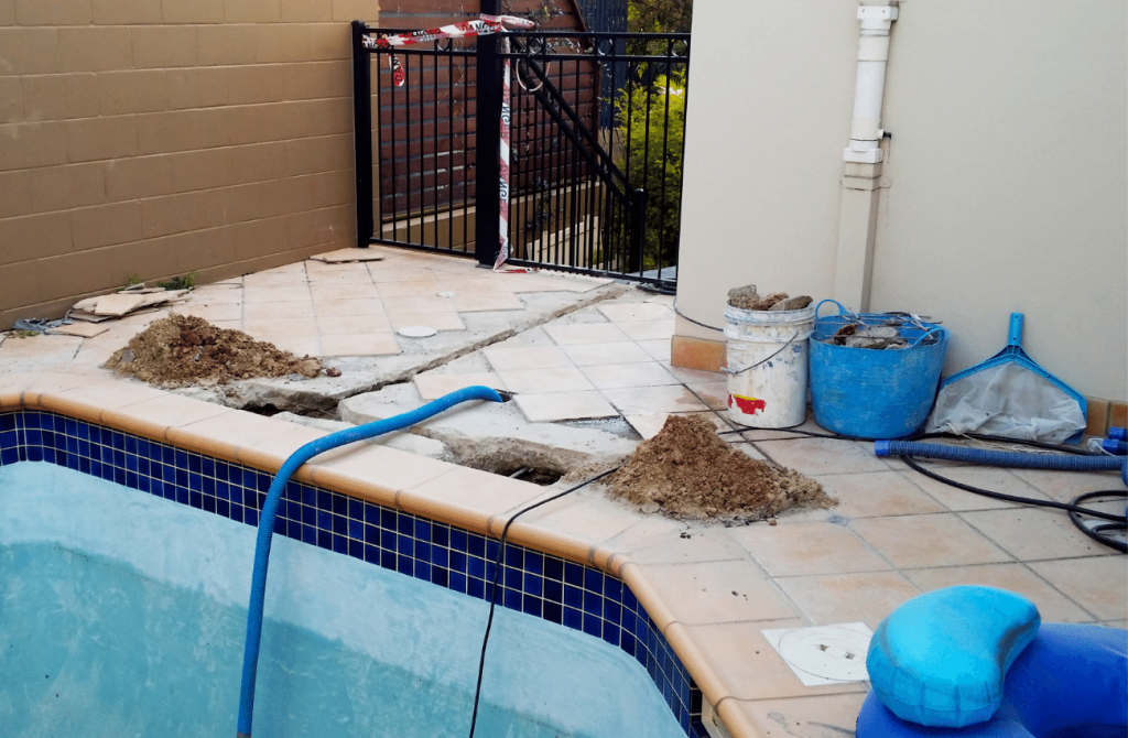 This is a swimming pool repair being carried out in virginia beach